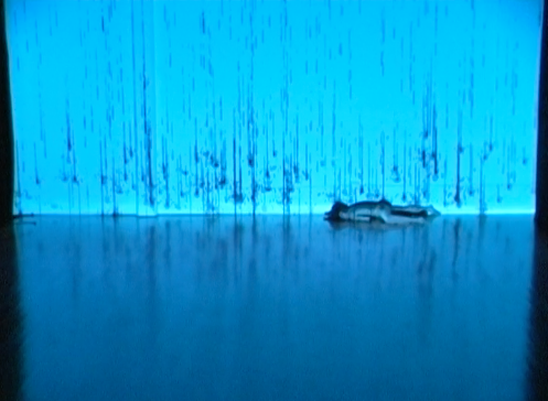 A bright blue stage has raindrops projects on to it, while Sonsherée inches across the bottom like a caterpillar.